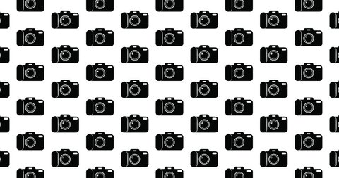 Cameras background clip motion backdrop video in a seamless repeating loop. Black & white photography & photographers themed camera pattern black & white background high definition motion video clip