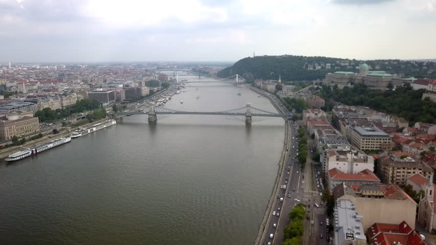 Drone flying over Budapest and the Danube River | Shutterstock HD Video #1028060417