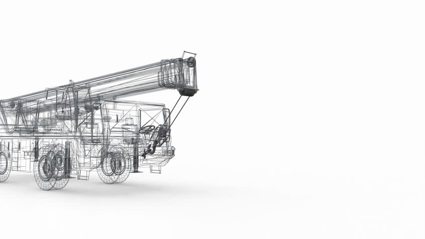 Mesh mobile crane. Three-dimensional illustration. 3d rendering. | Shutterstock HD Video #1028104937