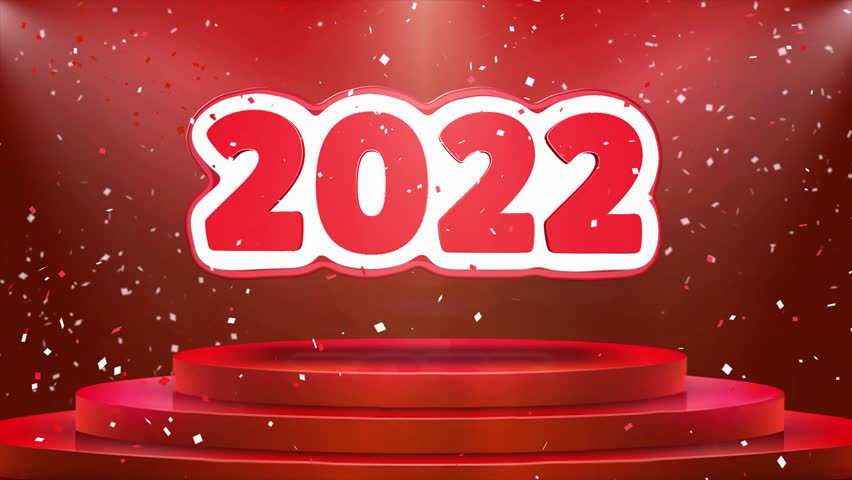 2022 Text Animation on 3d Stage Podium Carpet. Reval Red Curtain With Abstract Foil Confetti Blast, Spotlight, Glitter Sparkles, Loop 4k Animation. | Shutterstock HD Video #1028118917
