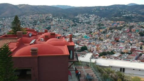 Aerial view of the colorful city of Guanajuato, México.