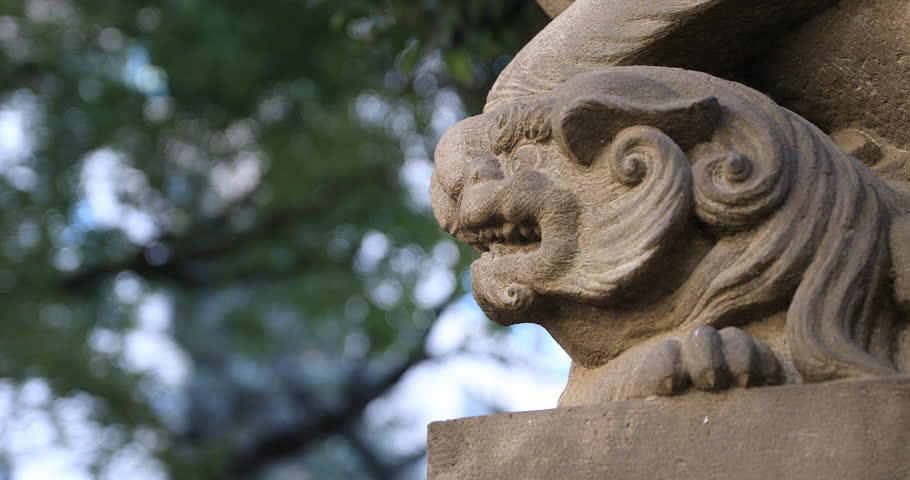 Statue guardian dog at the traditional shrine. Shinjuku district Tokyo Japan - 01.21.2019 : It is an old statue at the traditional shrine. camera : Canon EOS 5D mark4 | Shutterstock HD Video #1028153297