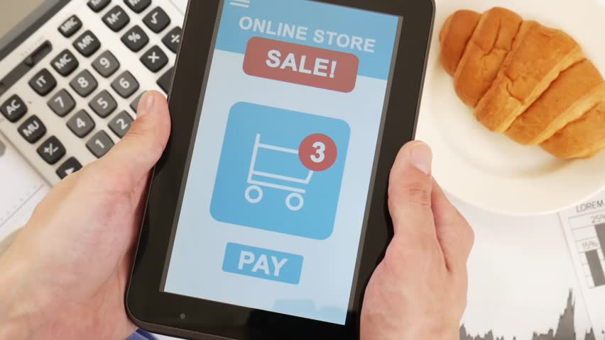 Pay online purchase bill with tablet device with a single tap | Shutterstock HD Video #1028255537