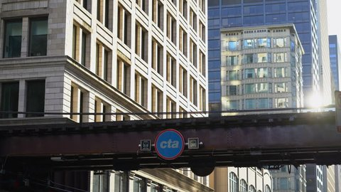 Chicago, Illinois, USA April 20, 2019 , video of train pulling up to the station in Chicago Illinois