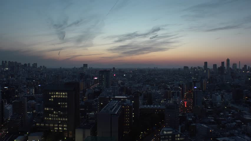 TOKYO,  JAPAN - CIRCA APRIL 2019 : Aerial sunrise view of CITYSCAPE of TOKYO around Shinjuku city and Ikebukuro city.  View from Bunkyo ward.  Time lapse shot. | Shutterstock HD Video #1028281757