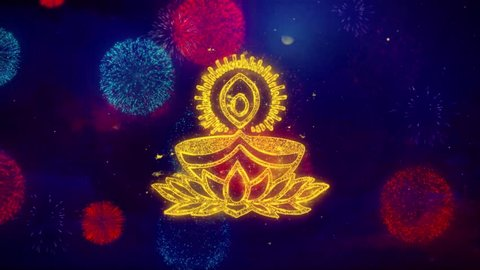 Deepak Diya Lamp Greeting Text with Particles and Sparks Colored Bokeh Fireworks Display 4K Background