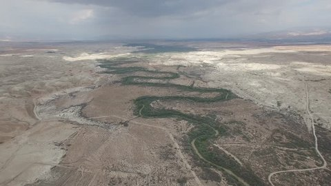 Aerial beauty of Jordan Valley, border between Israel and Jordan.