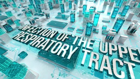 Infection of the Upper Respiratory Tract with medical digital technology concept