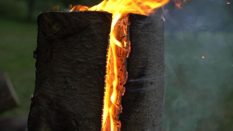 Swedish torch from side  scandinavian log on fire