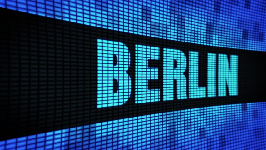 Berlin Side Text Scrolling on Light Blue Digital LED Display Board Pixel Light Screen Looped Animation 4K Background. Sign Board , Blinking Light, Pixel Monitor . LED Wall Pannel | Shutterstock HD Video #1028585387