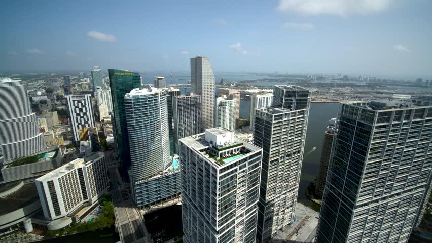 Miami, CA / USA - April 28, 2016: Miami Beach Florida City Buildings & Skyline, Hotels & Skyscrapers by Aerial Drone   Shutterstock HD Video #1028634827