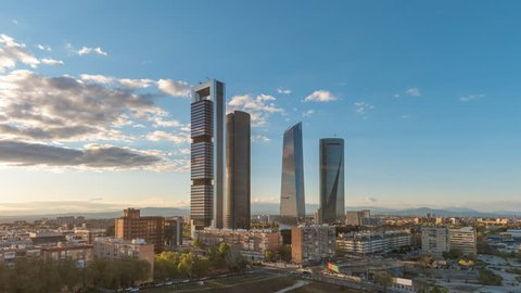 Madrid Spain time lapse 4K, city skyline timelapse at financial district four towers