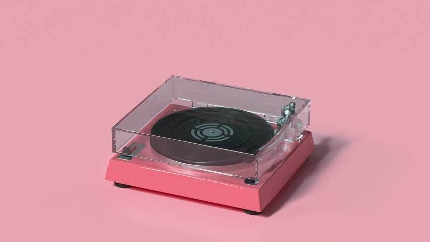 Technology entertainment vinyl music player cartoon style 3d rendering | Shutterstock HD Video #1028677277