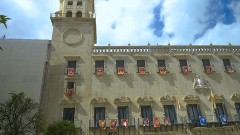 Town Hall in Alicante, Spain. Camera pans right across the front of the building.