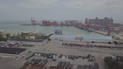 Haikou Xiuying Port Container Terminal, the Major Port for Hainan Free Trade Zone Initiative, Hainan Province, China