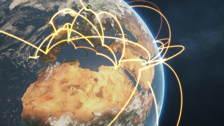 3d animation of a growing network across a realistic earth. Seamless loop. Abstract global business network concept. Orange closeup day version. Elements of this image furnished by NASA