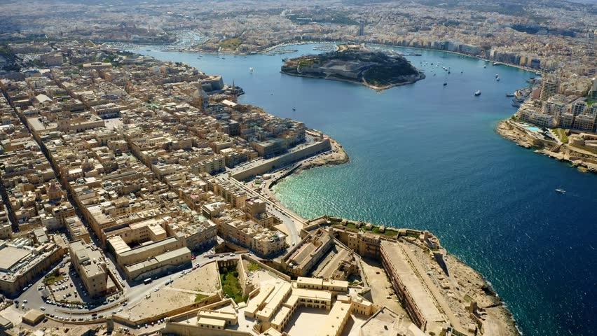 Aerial view of Valletta city and Manoel island. Malta