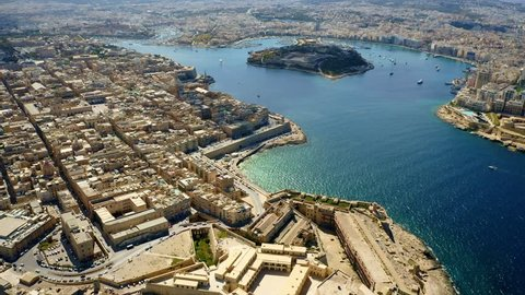 Aerial view of Valletta city and Manoel island. Malta