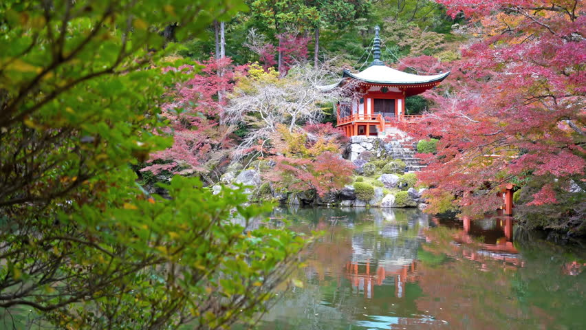 Static shot of the Daigoji Temple surrounded by a beautiful lake and colorful gardens in Kyoto, Japan   Shutterstock HD Video #1028821277