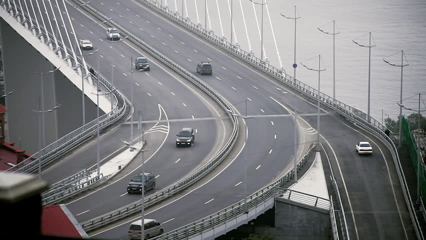 Vladivostok, Primorsky Krai / Russia - 07 07 2017: Cars drive on the Golden Bridge | Shutterstock HD Video #1028833937