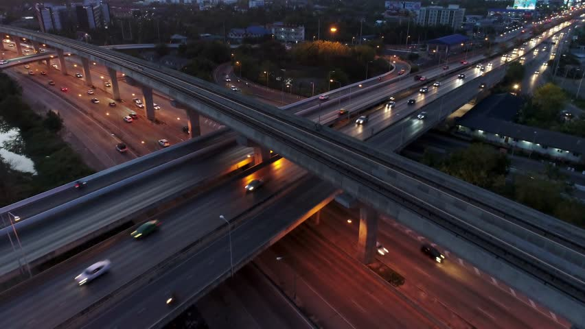 Aerial View, Expressway at night top view, Road traffic an important infrastructure in Thailand. #1028866517