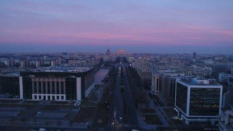 Aerial View Over Bucharest City Center Skyline at sunrise