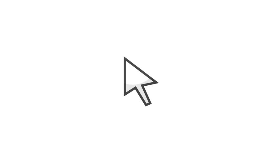 Computer Cursor Pointer Icon/ 4k animation of a computer electronic mouse cursor clicking on white and green screen background
