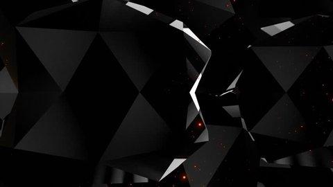 Dark black background diamonds edges seamless loop