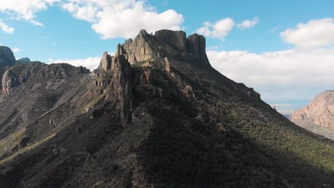 Aerial dolly shot to the right at Chisos mountains, Big Bend national park in Texas