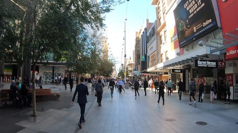 Time lapse of person point of view walking on Rundle Mall shopping precinct, a very popular tourist attraction in Adelaide the capital city of South Australia State, Australia.
