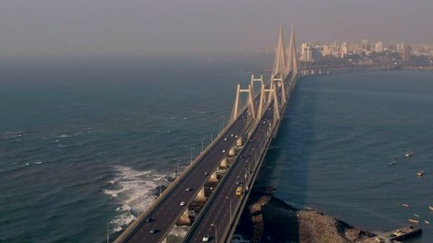 Mumbai, India, Worli sea link bridge, 4k aerial drone footage