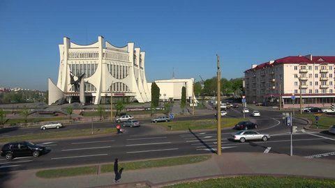 GRODNO, BELARUS - APRIL 30, 2019: View on the building of the Grodno regional drama theater, April day