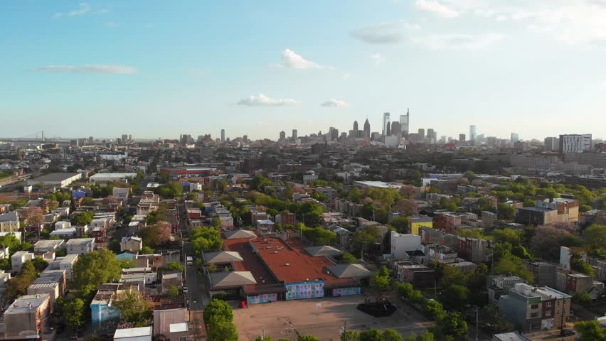 Drone flight in Philadelphia skyline from north to south 4K | Shutterstock HD Video #1029139997