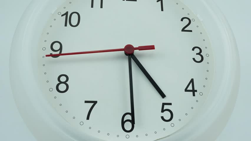 Zoom out Five o'clock White clock face 4k stock footage, with numbers and a ticking arrow, Time concept, Time lapse moving fast. | Shutterstock HD Video #1029160397