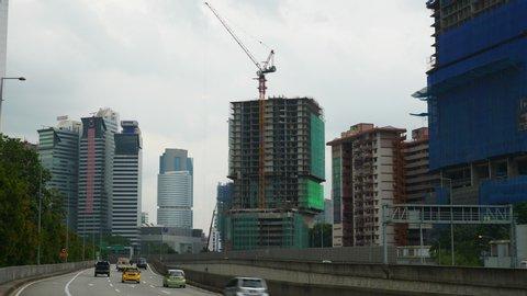 kuala lumpur city traffic road side construction panorama 4k malaysia
