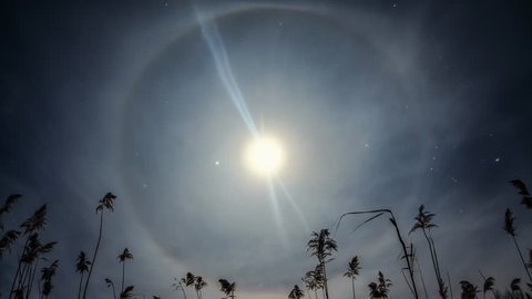 Unusual moon halo slow motion meditation and calmness  - psychedelic background effects