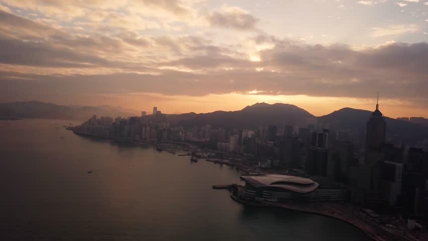 Aerial View drone 4k footage Of Modern Skyscrapers In Hong Kong City. buildings in Hong Kong city on sunrise.   Shutterstock HD Video #1029285767