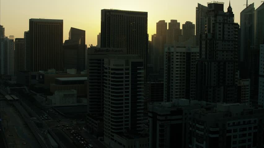 Aerial Dubai sunset City silhouette Skyscrapers UAE | Shutterstock HD Video #10292927