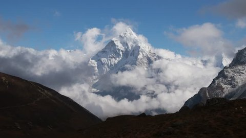 Ama dablam is a mountain in the Himalaya range of eastern Nepal. The main peak is 6,812 metres.Ama dablam is one of the most beautiful mountain in the World