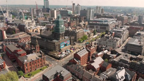 Leeds City Centre UK, 12th May 2019: Aerial photo over looking there famous historic Leeds Town Hall on the day of the Leeds Half Marathon in the Leeds City Centre in West Yorkshire