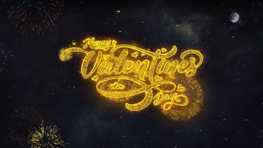 Happy Valentine Day Text Typography Reveal From Golden Firework Crackers Particles Night Sky 4k Background.  | Shutterstock HD Video #1029442637