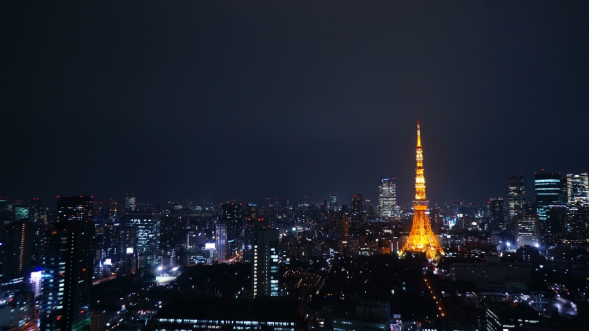 Tokyo Aerial Shot Timelapse Night View Large City Streets, Drone-like Shooting  | Shutterstock HD Video #1029476117