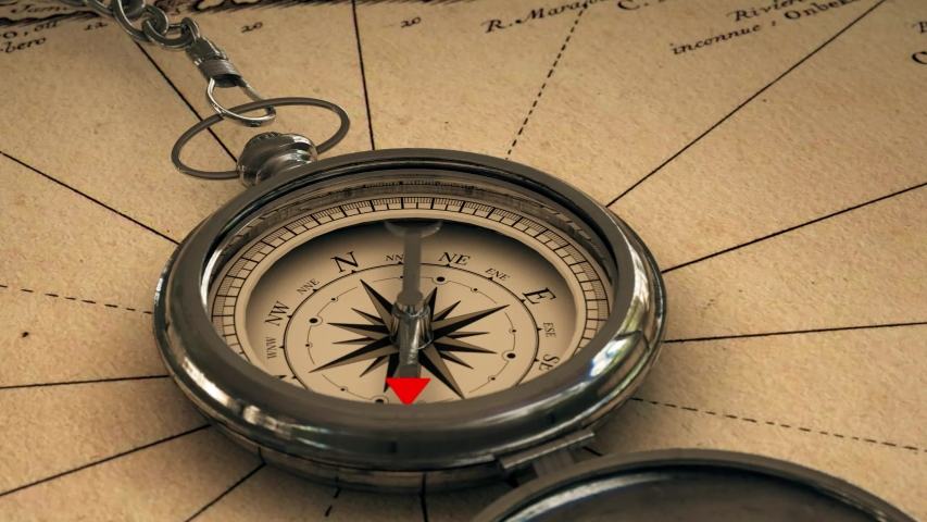 Antique compass on vintage world map. Adventure stories background. Retro style. 3d animation