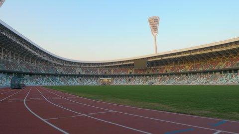 MINSK, BELARUS - April, 9, 2019: Dynamo Stadium after reconstruction before the I I European Games in 2019. Dynamo Minsk Stadium.