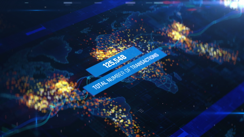 Countdown of total transactions around the world, financial report, infographics. Company report, stock market sales, economic outlook