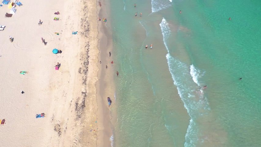 MIAMI, FLORIDA, USA - MAY 2019: Aerial drone panorama view flight over Miami beach. South Beach sand and sea from above at sunny day. Beach chairs and umbrellas on the coastline. | Shutterstock HD Video #1029610247