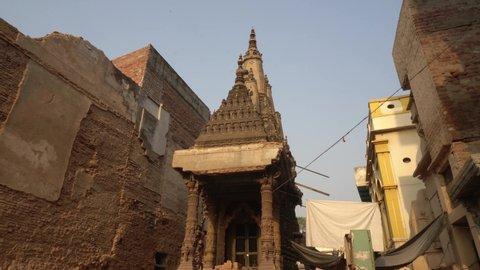 Varanasi / India 25 April 2019 Demolition work is in full swing for the Kashi Vishwanath Temple Corridor in Varanasi Uttar Pradesh
