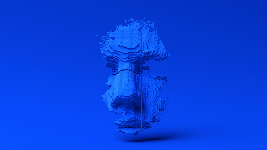 Abstract human face, 3d animation, head constructing from cubes, artificial intelligence concept, 4k video
