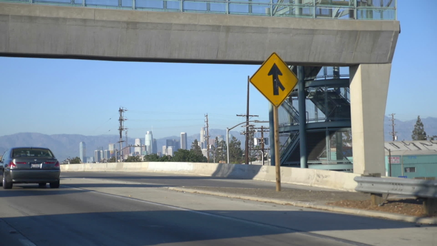 Car point of view of Los Angeles downtown in slow motion 180fps | Shutterstock HD Video #1029815567