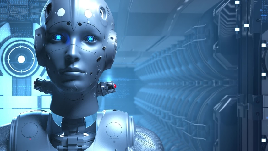 Sci-fi woman robot , learning digital information encrypt decrypt the digital world of the future of neural networks and the artificial intelligence future technologies | Shutterstock HD Video #1029861347